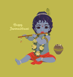 krishna janmashtami greeting card vector image