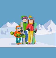 man woman boy skiing in snow mountain family vector image vector image