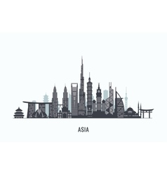 Asia skyline silhouette Travel and tourism vector image