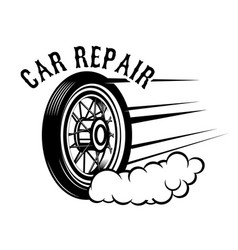car repair wheel with speed lines design element vector image