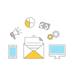 Email makreting outline icons flat vector image vector image