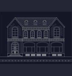 a drawing of an old mansion with shop windows on vector image
