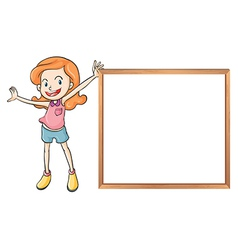 A girl holding an empty wooden blank board vector image
