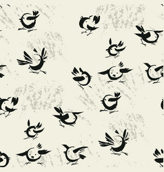 Abstract birds sketch seamless pattern vector