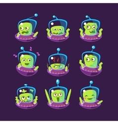 Alien in ufo emoji set vector