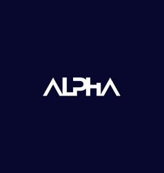 alpha logo on dark in minimal design vector image