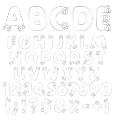 alphabet numbers from vials tubes with corks vector image
