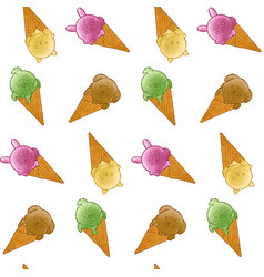 Animal ice cream seamless pattern vector