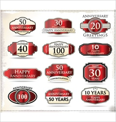 Anniversary red labels vector