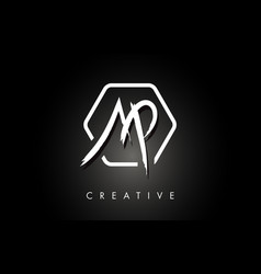 ap a p brushed letter logo design with creative vector image
