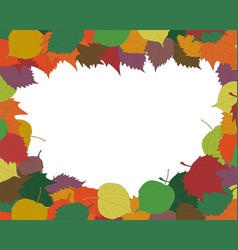 autumn seasonal background frame or border with vector image