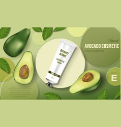 Avocado cosmetic poster ad realistic hand cream vector