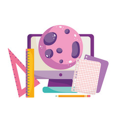 back to school computer planet paper and ruler vector image