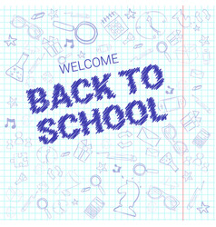 back to school doodle label hand drawn on squared vector image