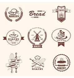 bakery retro emblem and labels collection design vector image