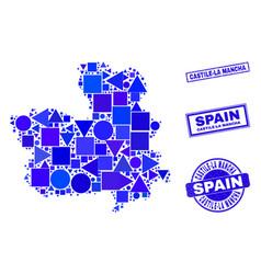 Blue geometric mosaic castile-la mancha province vector