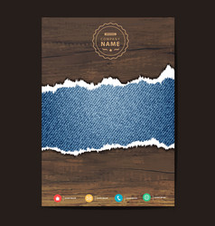 blue torn denim jeans texture on wooden vector image