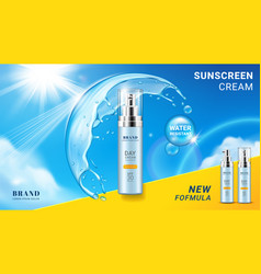 Branding for sunscreen aerosol or spray cream vector
