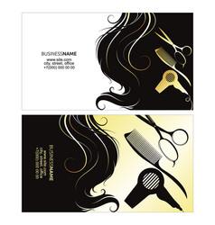 Business card a beauty salon with golden curls vector