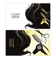 business card of a beauty salon with golden curls vector image