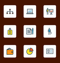 business icons colored line set with contract vector image