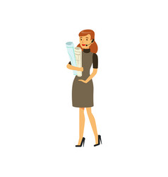 Businesswoman character in formal wear and headset vector