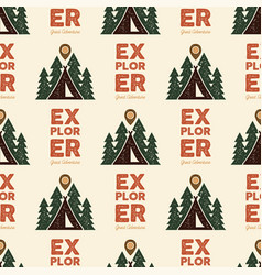 camping explorer pattern design - outdoors vector image