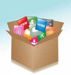 Cardboard box web buttons vector