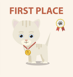 cat with medal vector image