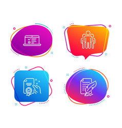 Certificate web lectures and group icons set vector