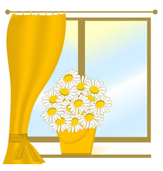 Chamomile on the window vector