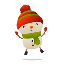 cheerful cartoon cute snowman jumps isolated on vector image