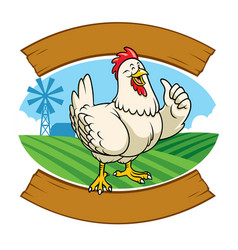 chicken in the farm with cartoon style vector image