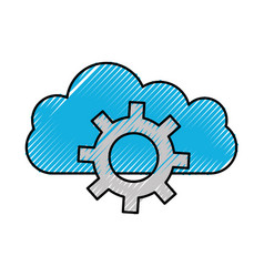 Cloud computing gear team work solution innovation vector