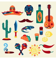 Collection of mexican icons in native style vector