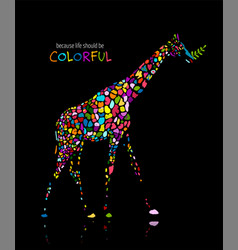 colorful giraffe sketch for your design vector image
