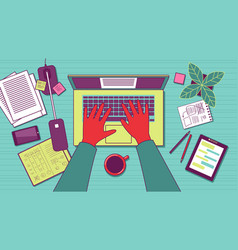 Copywriter desk top view vector