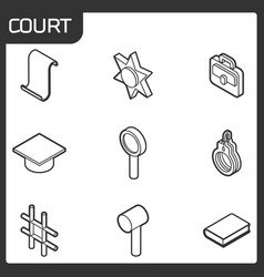 court outline isometric icons vector image