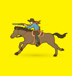 Cowboy riding horse aiming rifle graphic vector