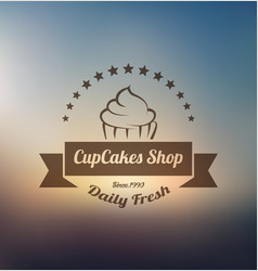 cupcake label logo template vector image