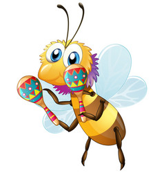 cute bee cartoon character holding maracas on vector image