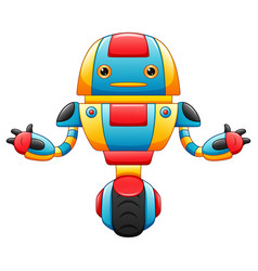 Cute cartoon robot with wheels isolated on white b vector