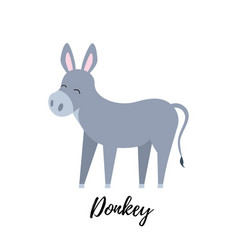 cute foal isolated domestic donkey kid vector image