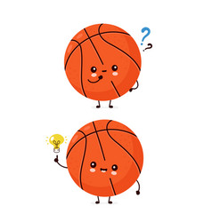 cute happy basketball ball with question mark vector image