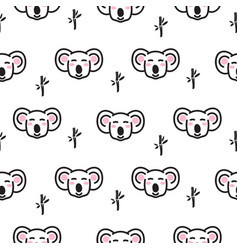cute koala bear heads seamless pattern vector image