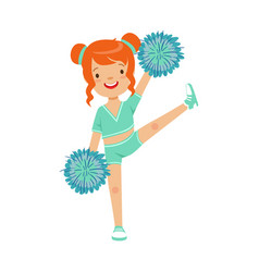 Cute little red haired girl dancing with blue vector