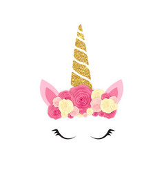 cute unicorn head and eyes with flower vector image