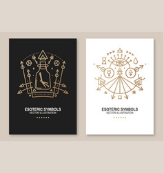 esoteric symbols poster flyer thin line vector image