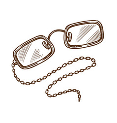 Eyeglasses or glasses on chain isolated sketch vector