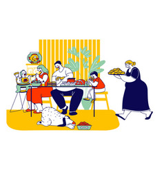 family eating unhealthy food with high level fat vector image